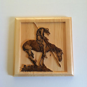 End of the Trail Wall Hanging -Reclaimed Wood Wall Art - Native American Indian on Horse with Spear
