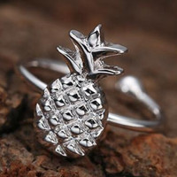 Cute 925 Silver Pineapple Pineapple Ring Gift