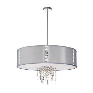Dainolite 4 Light Pendant with Crystal Accents, Polished Chrome, Silk Glow Steel Drum Shade
