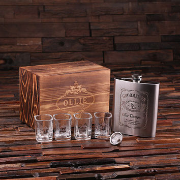 Personalized 4 pc. gift Set – 18 oz. Flask with Funnel 4 Shot Glasses and Keepsake Box
