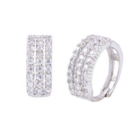 Sterling Silver Huggie Hoop Earrings 3-Row CZ 14mm