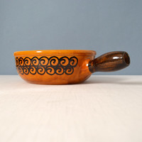 Vintage Landert Swiss Clay Fondue Pot with Swirl Decoration - Caquelon