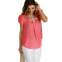Coral Take A Meeting Blouse
