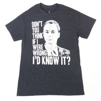 The Big Bang Theory Sheldon Cooper If I Were Wrong Adult Black T-shirt - The Big Bang Theory - | TV Store Online