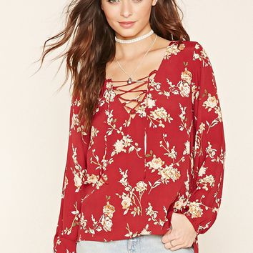Floral Lace-Up Blouse