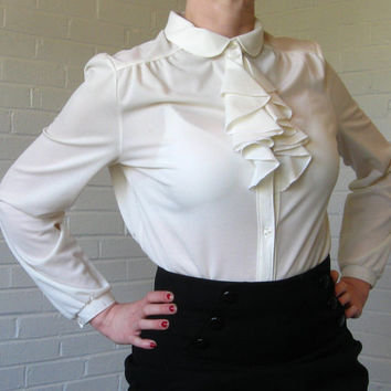 Vintage 1970s ruffled blouse Off white by JunkStoreAddict on Etsy