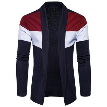 Mens Fall Winter knitting Hit color Striped Casual Cardigans