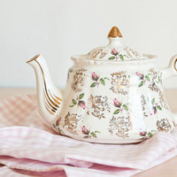 Vintage Pink Rose Print Price Kensington English Teapot, Made in England, Cottage Chic Decor