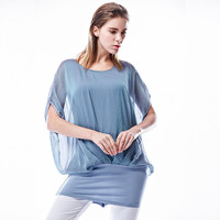 Batwing Sleeve with Elastic Hemline Blouse