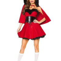 Women 3 Piece Little Red Damsel Riding Hood Fancy Dress Halloween Costume