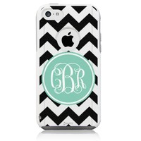 iPhone 5c Case [White] Mint Chevron Monogram [Dual Layer] UnnitoTM *1 Year Warranty* Case Protective [Custom] Commuter Protection Cover [Hybrid]