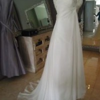 Elegant Sleeveless Ivory Chiffon Beach Wedding Dresses Custom Size 0 2 4 6 8