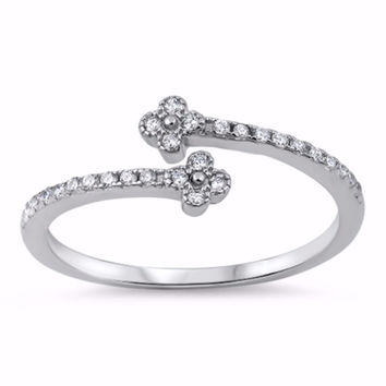Sterling Silver CZ Simulated Diamond Two Clover Ring