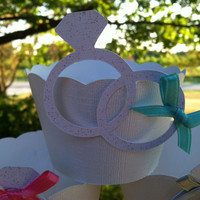 Wedding ring cupcake wrappers:  tie the knot bows