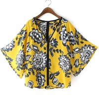 Yellow V-Neckline Flare Sleeve Tunic Top