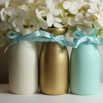 Mint and Gold Baby Shower Decorations Baby Shower Centerpiece Vases Nursery Decor  Gender Neutral Half Pint Milk Bottles