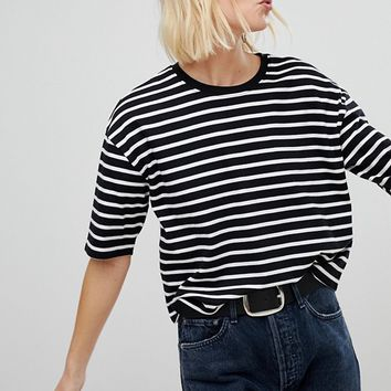 New Look Stripe Boxy Tee at asos.com