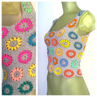 Crochet Crop Top, Vintage 70s Boho Tank Top, Handmade Hippie Top, Crocheted Flowers Cropped Tank Top, Festival Season, Playa Wear S M