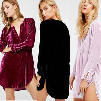 New Fashion Plunging Neck Loose Casual Tunic Shirt Solid Color Sexy Mini Dress For Women Ladies Costomes Femininos LX253