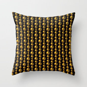 Bead Pattern, Gold & Black Throw Pillow by Lyle Hatch | Society6