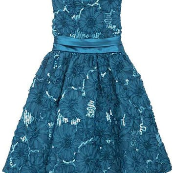 Rare Editions Girls' Blue Sequin Soutache Dress