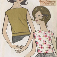 Advance 3007 Sewing Pattern Retro 60s Sew Easy Beginner Pattern Teen Misses Blouse Sleeveless Top Shirt Bust 30