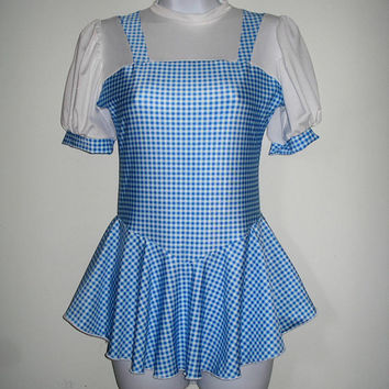 Figure Skating Dress Dorothy, Wizard Of Oz, Girls & Ladies Sizes Royal Blue/White Gingham Ice Skater Dress Blouse Look White Puffy Sleeves