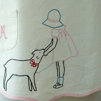 Vintage Childs Apron Mary Had A Little Lamb by My3Chicks on Etsy