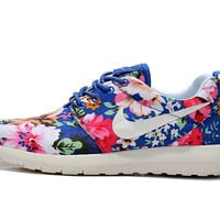custom nike roshe run flyknit sneakers athletic womens shoes with fabric floral and swarovski crystal
