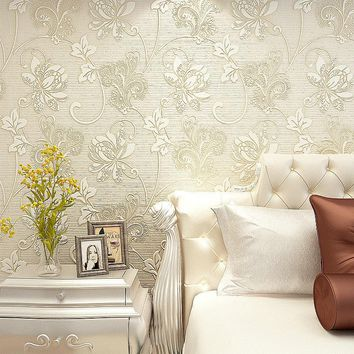 10M Luxury Italian Silk Fabrics vintage 3D floral Wall Paper papel de parede Light Color Flower Wallpaper for bedroom Home Decor