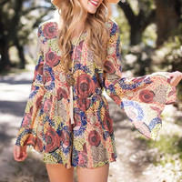First Place Medallion Printed Back Detail Romper