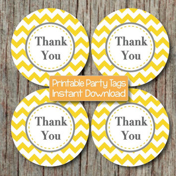 Thank You Tags Birthday Party Baby Shower Printable diy Yellow Grey Chevron Favor Labels Gift Bag Tags INSTANT DOWNLOAD PDF Digital - 106