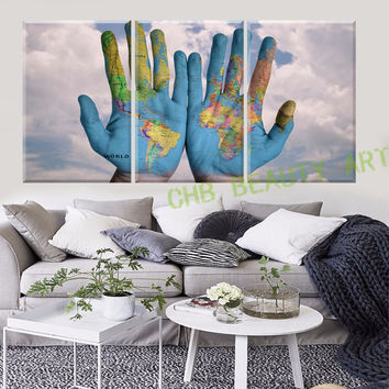 3 Piece Canvas Wall Art World Map in hand Printed Painting On Canvas Wall Pictures For Living Room Decorative Pictures Unframed
