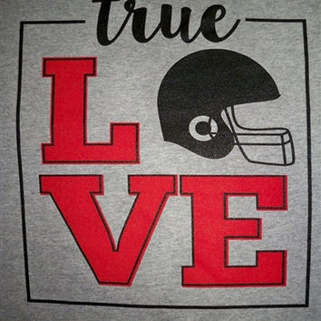 Southern Chics True Love Football Sports Girlie  Bright T Shirt