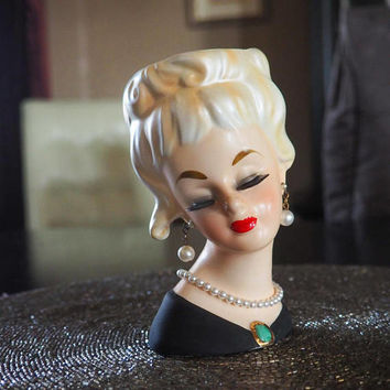 "1964 INARCO E-2254 Lady Head Vase 5.5"" Iridescent Blond Hair"