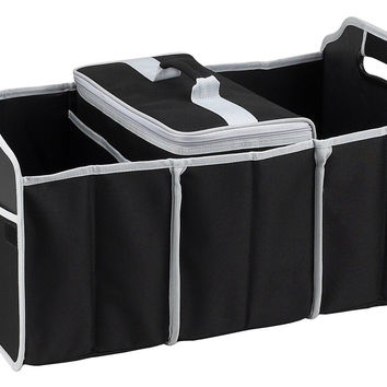 Black Trunk Organizer w/ Three Sections & Insulated Cooler