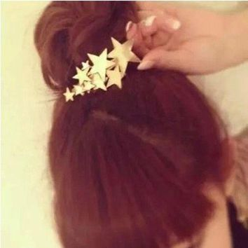DKLW8 1 PCS Star Hair Clip Barrettes Hairpin Bobby Pin Jewelry Hair Accessories for Women Lady Girls Gold/ Silver color