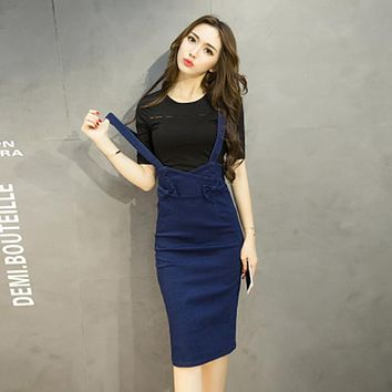 2017 new spring women denim strap cross Pencil skirt Package hip medium long female bow slim blue High waist skirts for woman