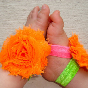 Neon Baby Barefoot Sandals - Baby Girl Accessories - Piggy Petals - Toe Blooms - Baby Shower Gift - Toddler Shoes - Baby Shoes Newborn Shoes