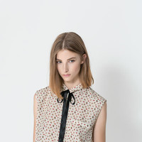 FLORAL SHIRT WITH CONTRASTING BOW - Shirts - TRF | ZARA United States