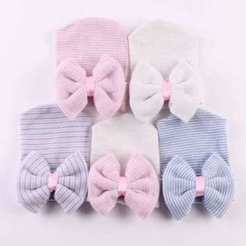 Baby Girl Newborn Hat with bow Newborn Baby Girl cap hospital with bow newborn baby girl hat