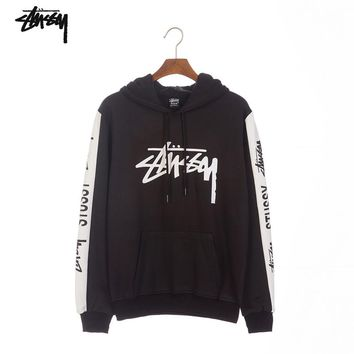 Stussy Tide brand classic printed letter loose hooded couple models long-sleeved sweater Black