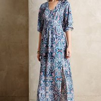 Silk Tilework Maxi Dress by Maeve Blue Motif