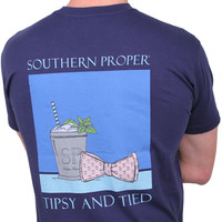 Tipsy and Tied Tee in Navy by Southern Proper