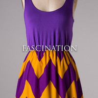Show Time Chevron Short Dress - Purple and Gold