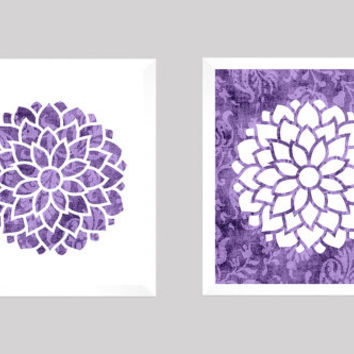 Flowers Shabby Chic Purple Batik Pattern CUSTOMIZE YOUR COLORS 8x10 Prints, Nursery Bedroom BathroomDecor Print Kids Art Baby Room Baby Girl