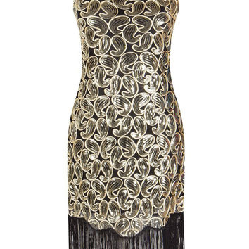 Women's 1920s Sequined Paisley Pattern Racer Back Tassels Flapper Cocktail Dress Sexy Fringe Great Gatsby Party Dress
