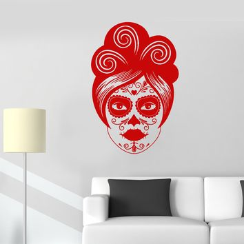 Vinyl Wall Decal Calavera Mexican Day Of Dead Girl Face Skull Stickers (2195ig)