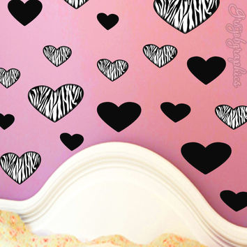 Hearts Wall Decals Zebra Print Choose Color Custom Color Girls Room Decor GH6