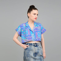 Vintage 80s Abstract Tribal Aztec Print Crop Top Boxy Oversize Cropped Midriff Button Up Shirt Aqua Purple Small S